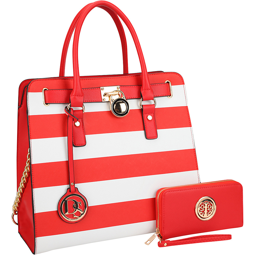 Dasein Large Satchel with Matching Wallet Red/White - Dasein Manmade Handbags - Handbags, Manmade Handbags