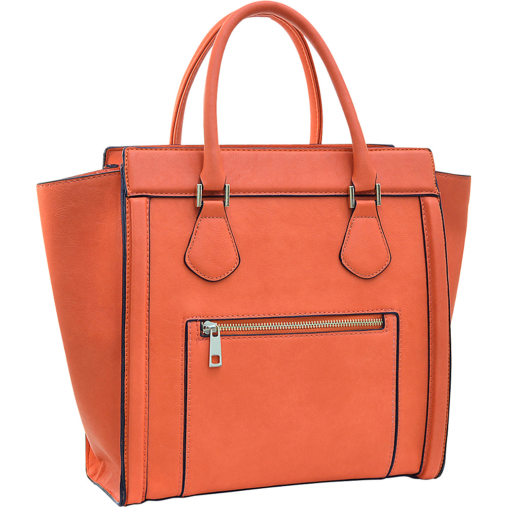 Dasein Medium Winged Satchel Orange - Dasein Manmade Handbags - Handbags, Manmade Handbags