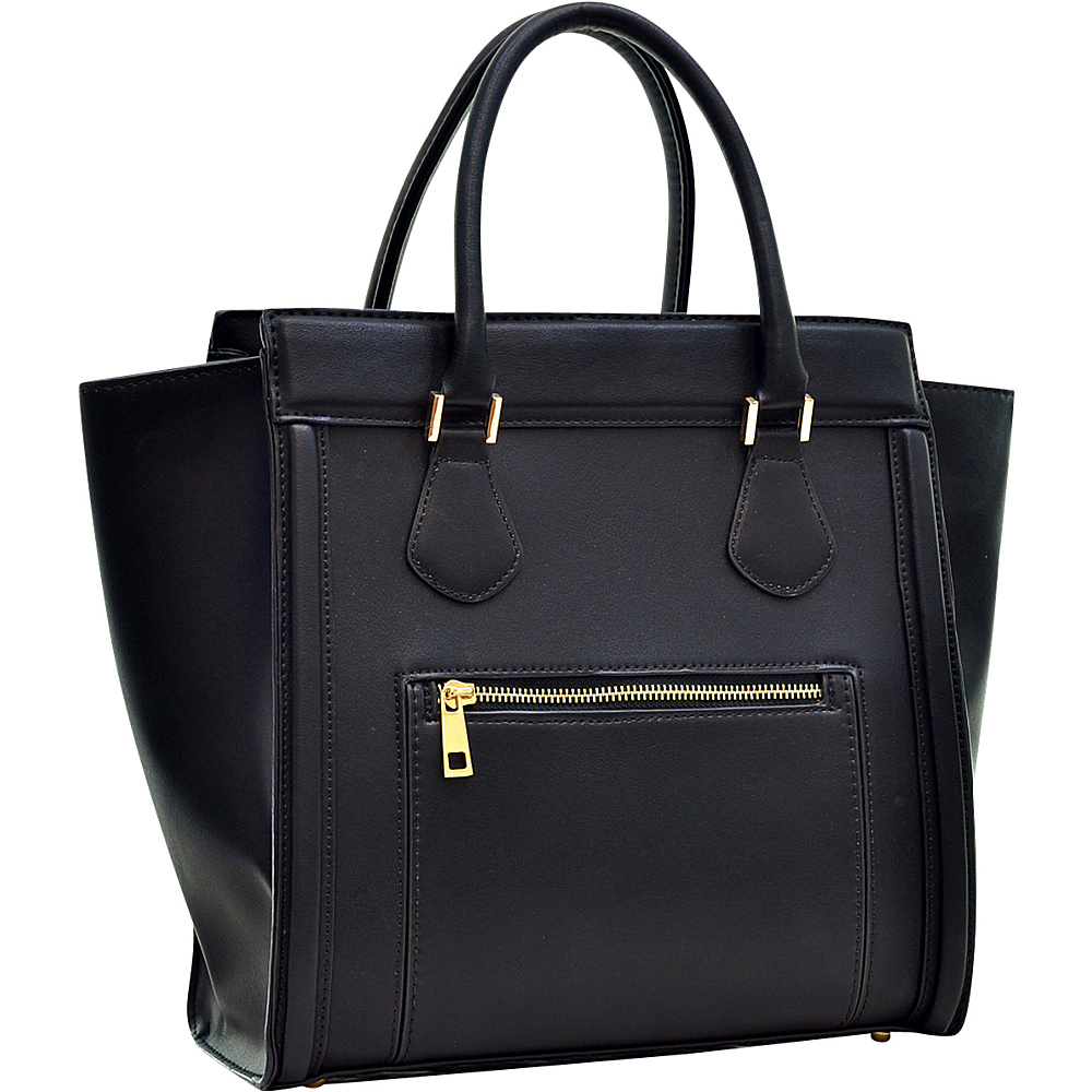 Dasein Medium Winged Satchel Black - Dasein Manmade Handbags - Handbags, Manmade Handbags