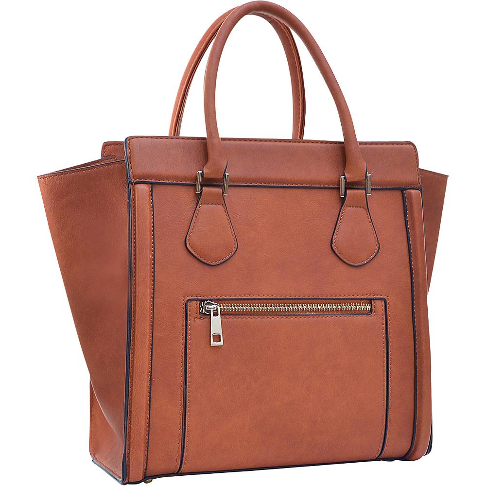 Dasein Medium Winged Satchel Brown - Dasein Manmade Handbags - Handbags, Manmade Handbags