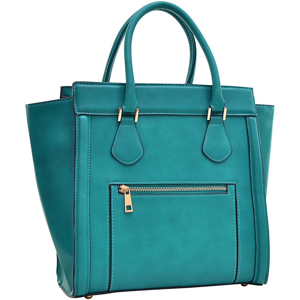 Dasein Medium Winged Satchel Teal Blue - Dasein Manmade Handbags - Handbags, Manmade Handbags