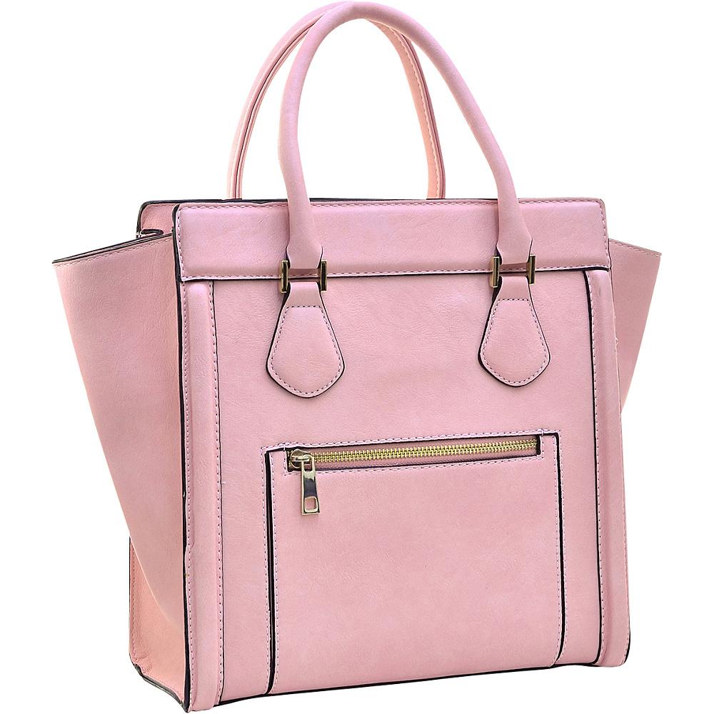 Dasein Medium Winged Satchel Pink - Dasein Manmade Handbags - Handbags, Manmade Handbags
