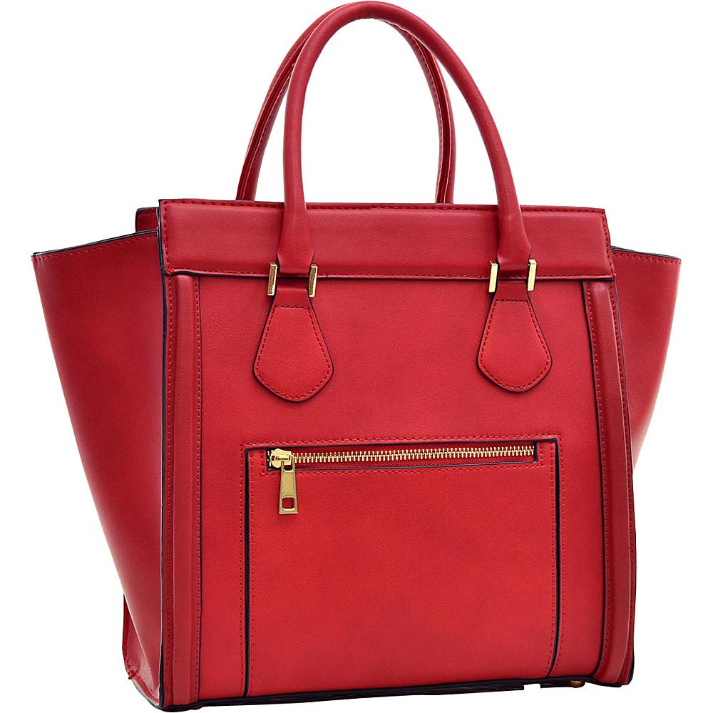 Dasein Medium Winged Satchel Red - Dasein Manmade Handbags - Handbags, Manmade Handbags