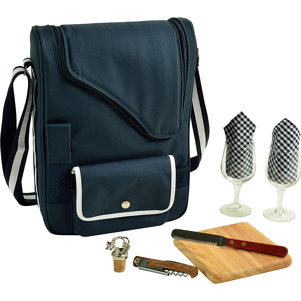 Picnic at Ascot Bordeaux Wine & Cheese Cooler Bag with Wine Glasses Equipped for 2 Navy/White - Picnic at Ascot Outdoor Accessories - Outdoor, Outdoor Accessories