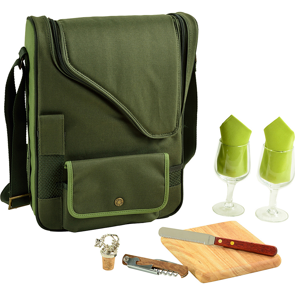 Picnic at Ascot Bordeaux Wine & Cheese Cooler Bag with Wine Glasses Equipped for 2 Forest Green - Picnic at Ascot Outdoor Accessories - Outdoor, Outdoor Accessories
