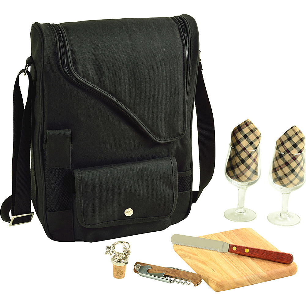 Picnic at Ascot Bordeaux Wine & Cheese Cooler Bag with Wine Glasses Equipped for 2 Black/Plaid - Picnic at Ascot Outdoor Accessories - Outdoor, Outdoor Accessories