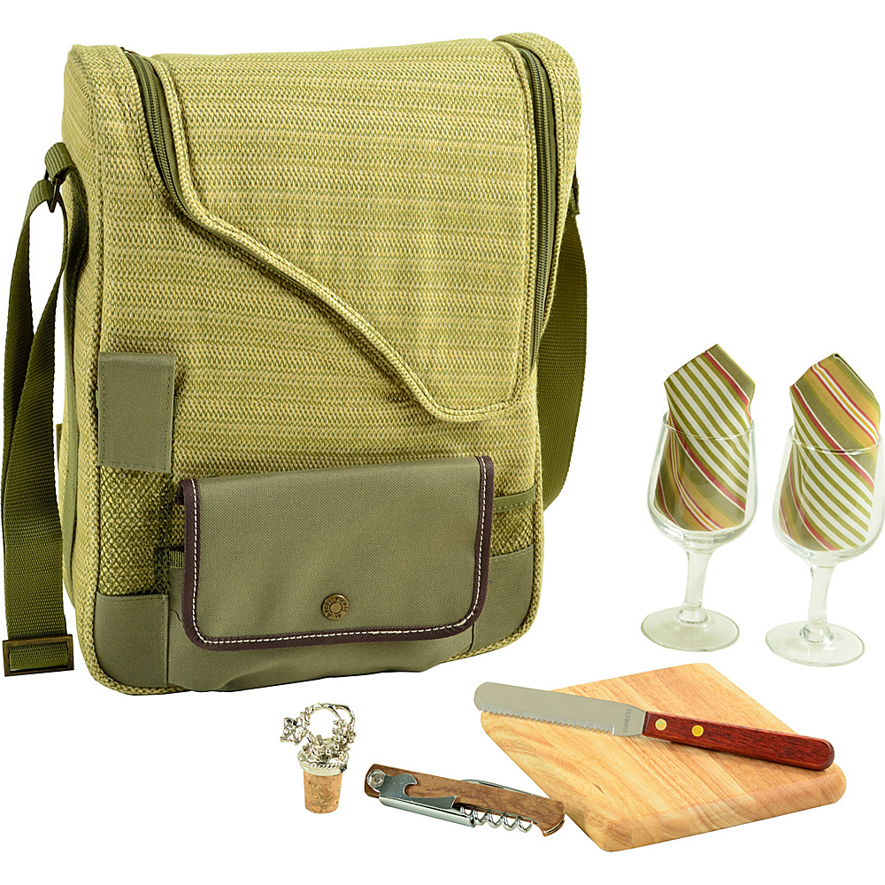 Picnic at Ascot Bordeaux Wine & Cheese Cooler Bag with Wine Glasses Equipped for 2 Olive Tweed - Picnic at Ascot Outdoor Accessories - Outdoor, Outdoor Accessories