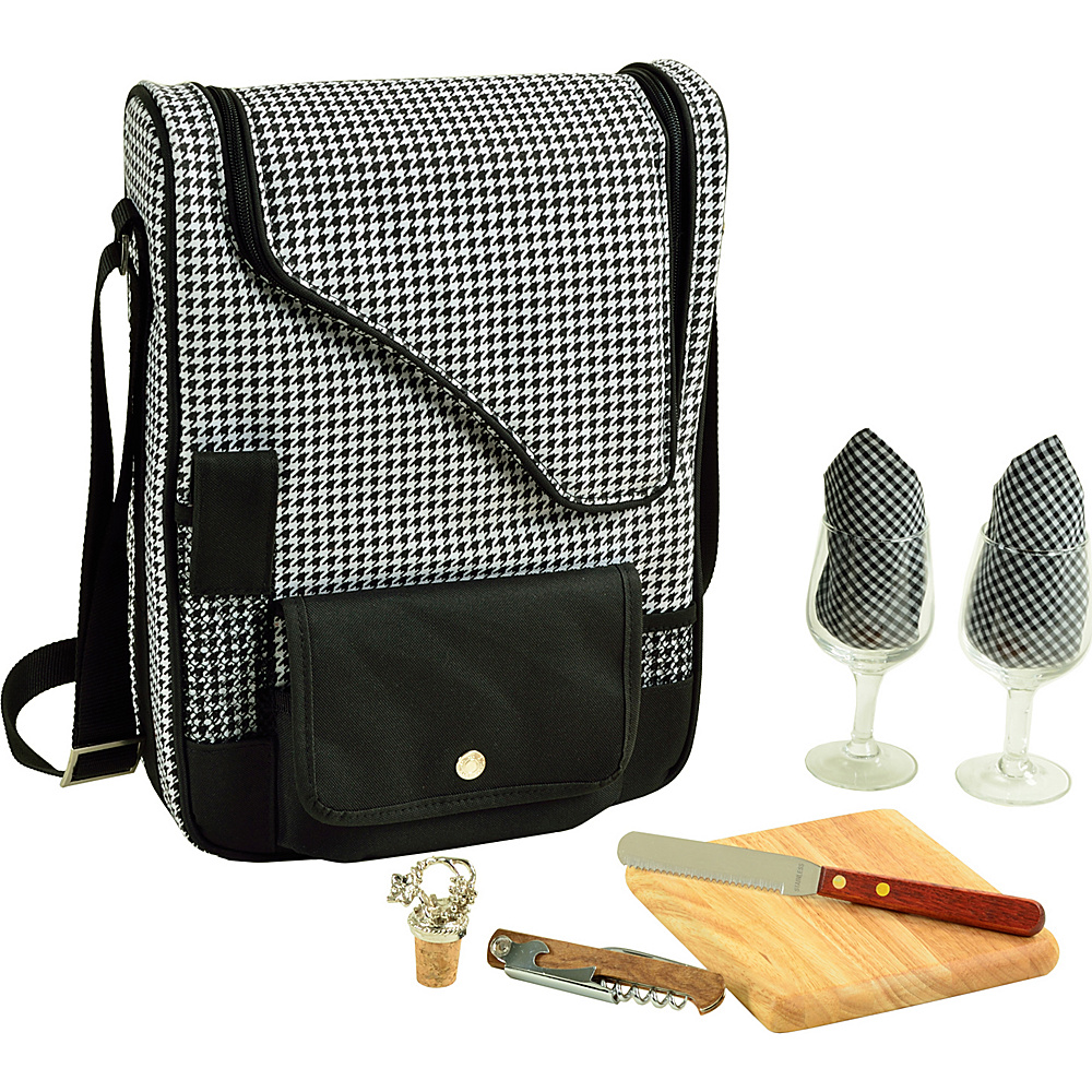 Picnic at Ascot Bordeaux Wine & Cheese Cooler Bag with Wine Glasses Equipped for 2 Houndstooth - Picnic at Ascot Outdoor Accessories - Outdoor, Outdoor Accessories
