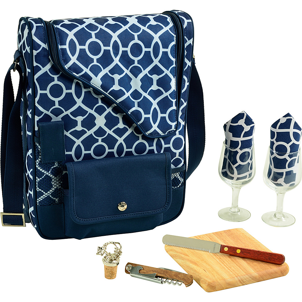 Picnic at Ascot Bordeaux Wine & Cheese Cooler Bag with Wine Glasses Equipped for 2 Trellis Blue - Picnic at Ascot Outdoor Accessories - Outdoor, Outdoor Accessories
