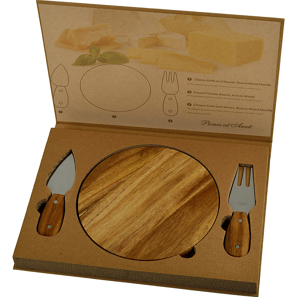Picnic at Ascot Bristol Acacia Cheese Board set Natural - Picnic at Ascot Outdoor Accessories - Outdoor, Outdoor Accessories