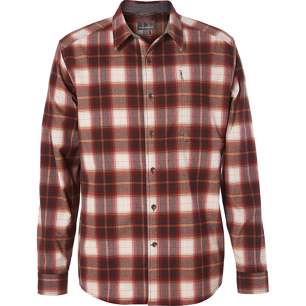 Royal Robbins Mens MerinoLux Flannel Long Sleeve Shirt M - Red Rock - Royal Robbins Mens Apparel - Apparel & Footwear, Men's Apparel