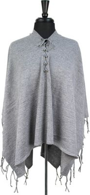Quagga Green Laced Up Poncho One Size  - Heather Grey - Quagga Green Women's Apparel