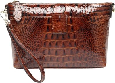 Vicenzo Leather Lena Croc Embossed Leather Crossbody Handbag Chestnut - Vicenzo Leather Leather Handbags