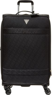 GUESS Travel Fenner 24 inch Spinner Checked Luggage Black - GUESS Travel Softside Checked