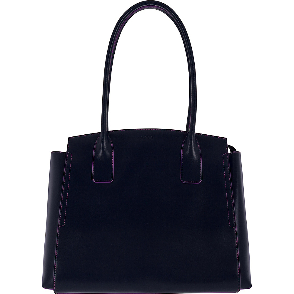 Lodis Audrey RFID Zola Tote Navy/Orchid - Lodis Leather Handbags - Handbags, Leather Handbags