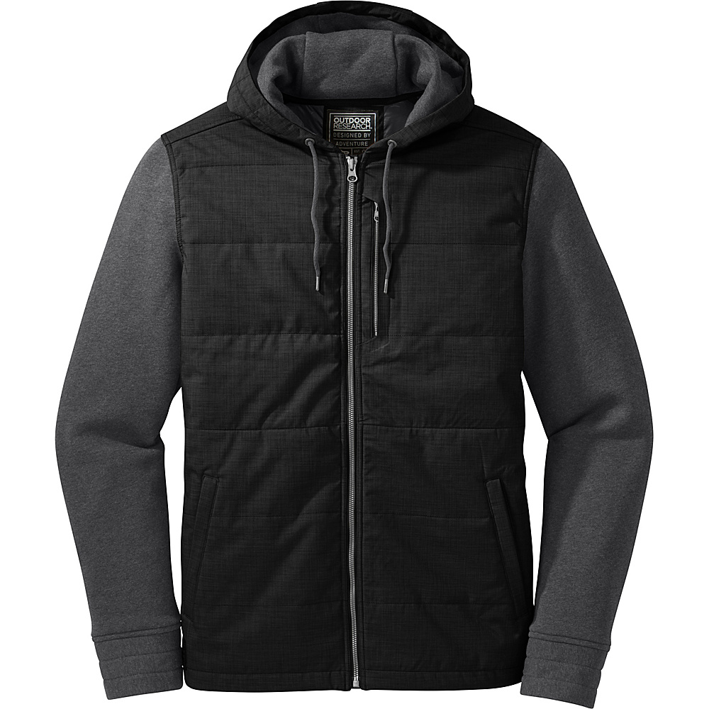 Outdoor Research Mens Revy Hooded Jacket M - Black/Charcoal - Outdoor Research Mens Apparel - Apparel & Footwear, Men's Apparel