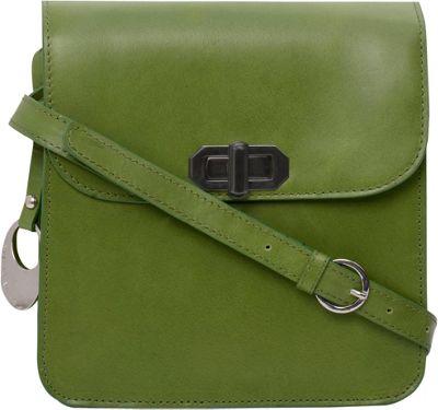 Phive Rivers Twistlock Flapover Crossbody Green - Phive Rivers Leather Handbags