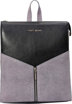 Phive Rivers Embossed Snake Print Leather Backpack Black - Phive Rivers Leather Handbags