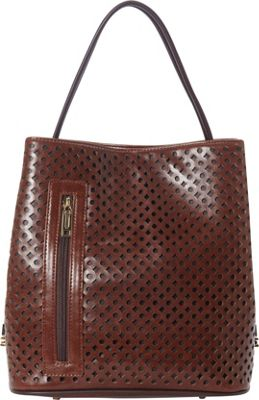 Samoe Classic Convertible Shoulder Bag Cognac Laser Cut/Dark Grey - Samoe Manmade Handbags