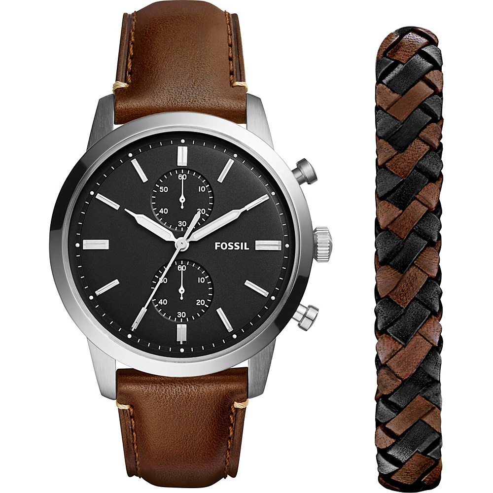 Fossil Townsman 44mm Chronograph Leather Watch and Jewelry Box Set Brown - Fossil Watches - Fashion Accessories, Watches
