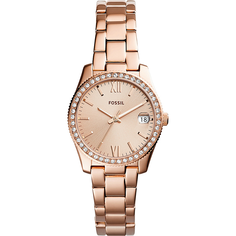 Fossil Scarlette Three-Hand Date Stainless Steel Watch Rose Gold - Fossil Watches - Fashion Accessories, Watches