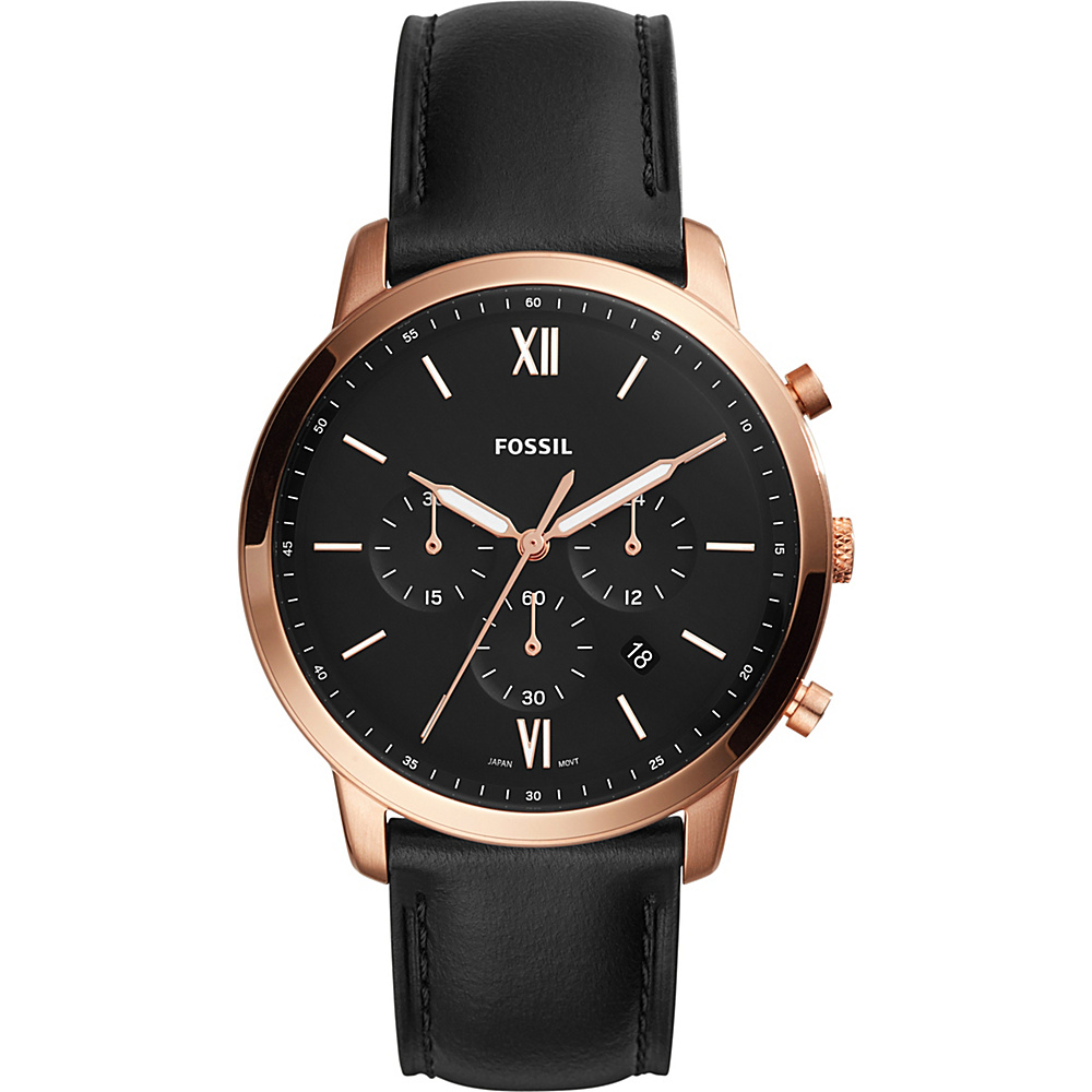 Fossil Neutra Chronograph Leather Watch Black - Fossil Watches - Fashion Accessories, Watches