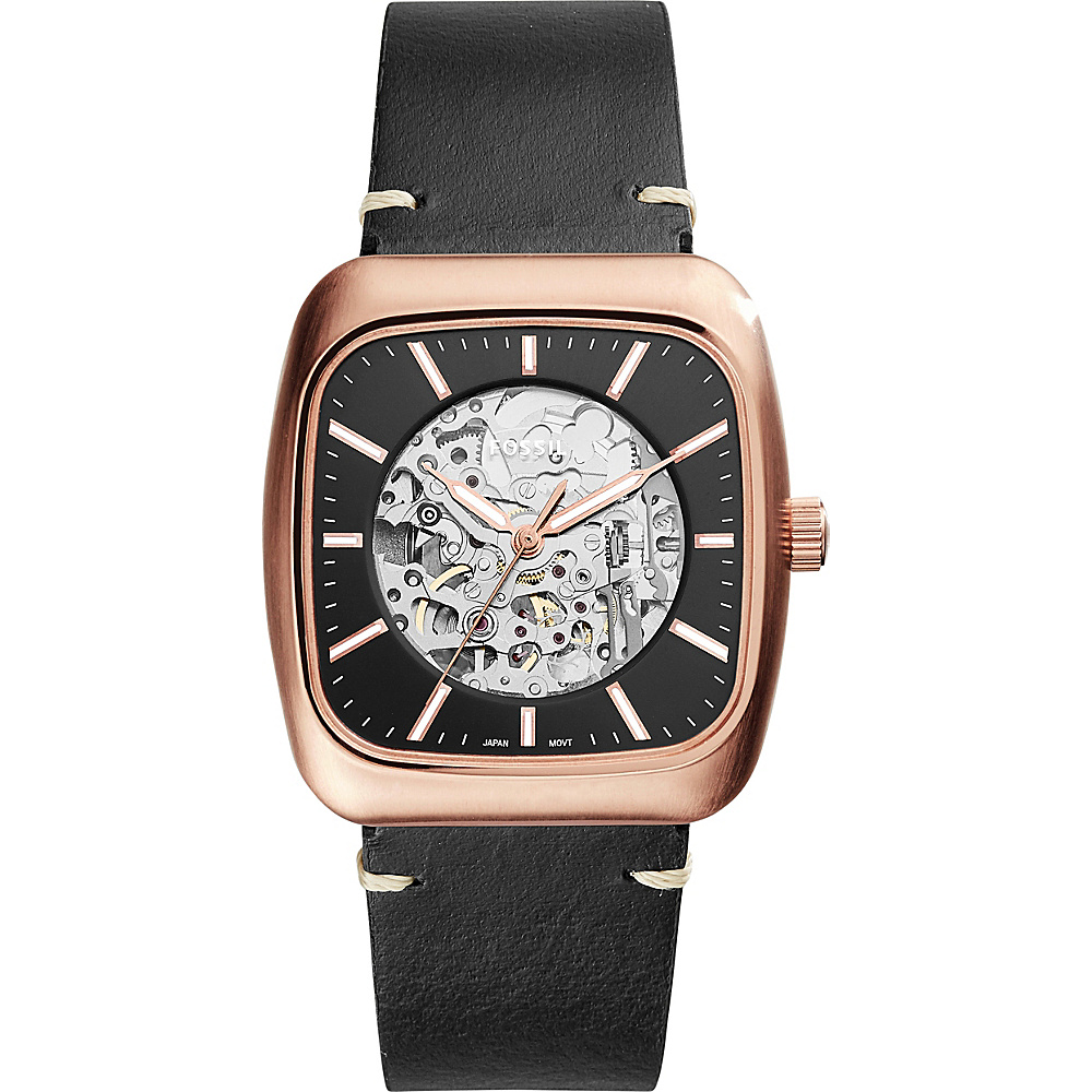 Fossil Rutherford Automatic Three-Hand Leather Watch Black - Fossil Watches - Fashion Accessories, Watches