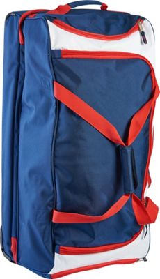US Polo Deluxe 30 inch Rolling Split Bottom Checked Duffel Navy/Red - US Polo Travel Duffels