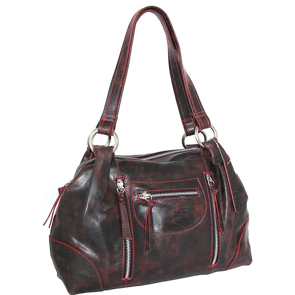 Nino Bossi Jess Satchel Black/Red - Nino Bossi Leather Handbags - Handbags, Leather Handbags