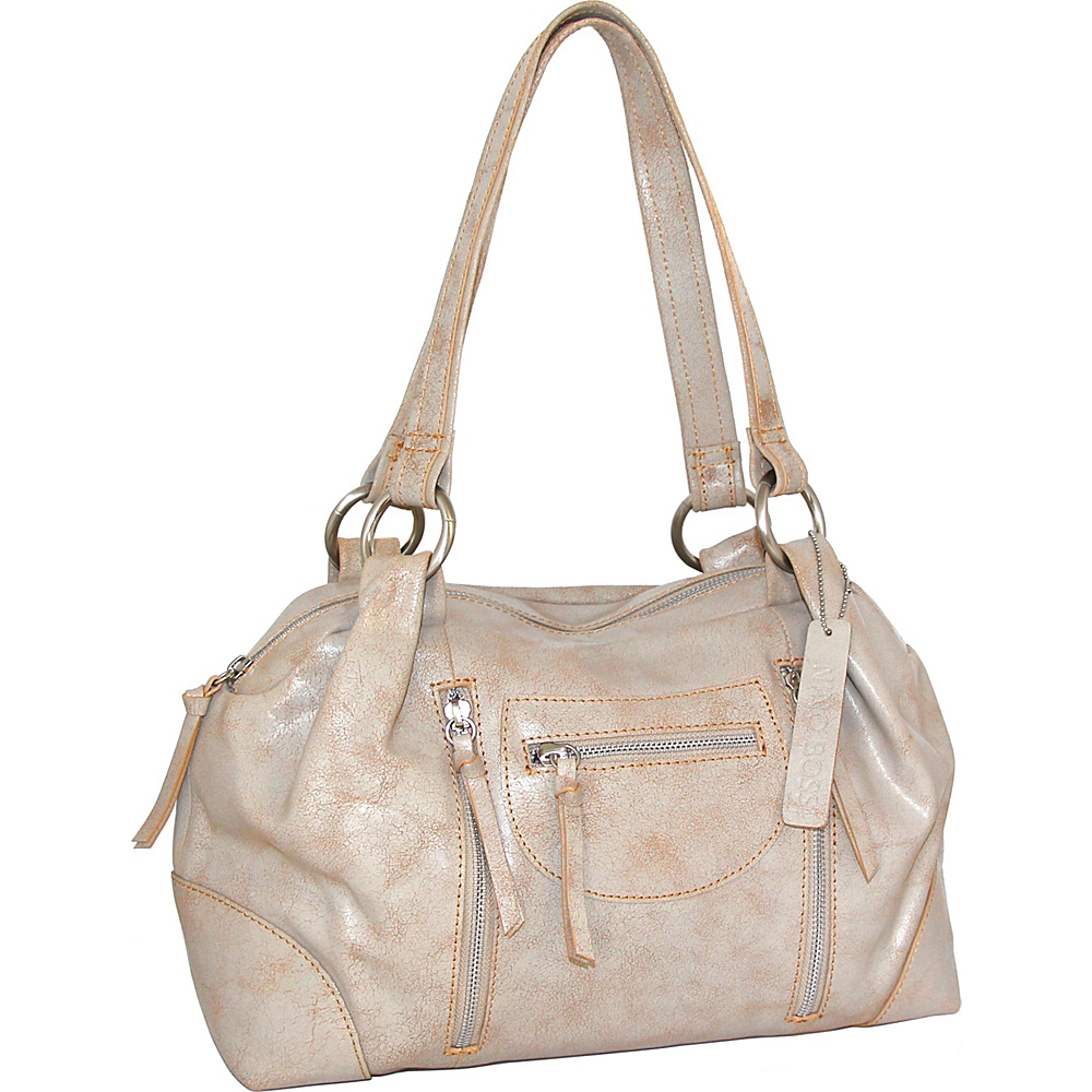 Nino Bossi Jess Satchel White/Beige - Nino Bossi Leather Handbags - Handbags, Leather Handbags