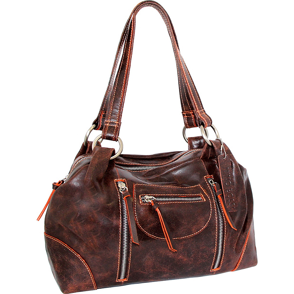 Nino Bossi Jess Satchel Chocolate/Orange - Nino Bossi Leather Handbags - Handbags, Leather Handbags