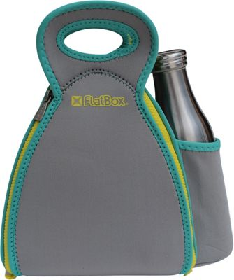 FlatBox DrinX Placemat Lunch Bag Light Gray/Torqouise/Yellow - FlatBox Travel Coolers