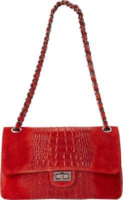Sharo Leather Bags Alligator Print Two-Tone Shoulder Bag Red - Sharo Leather Bags Leather Handbags