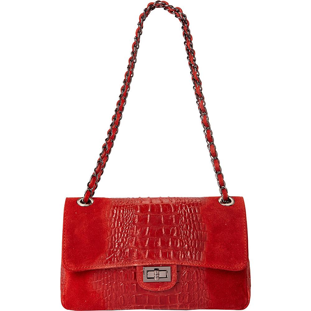Sharo Leather Bags Alligator Print Two Tone Shoulder Bag Red Sharo Leather Bags Leather Handbags