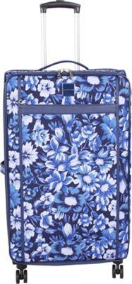 Isaac Mizrahi Lantana 26 inch 8-Wheel Spinner Checked Luggage Blue - Isaac Mizrahi Softside Checked