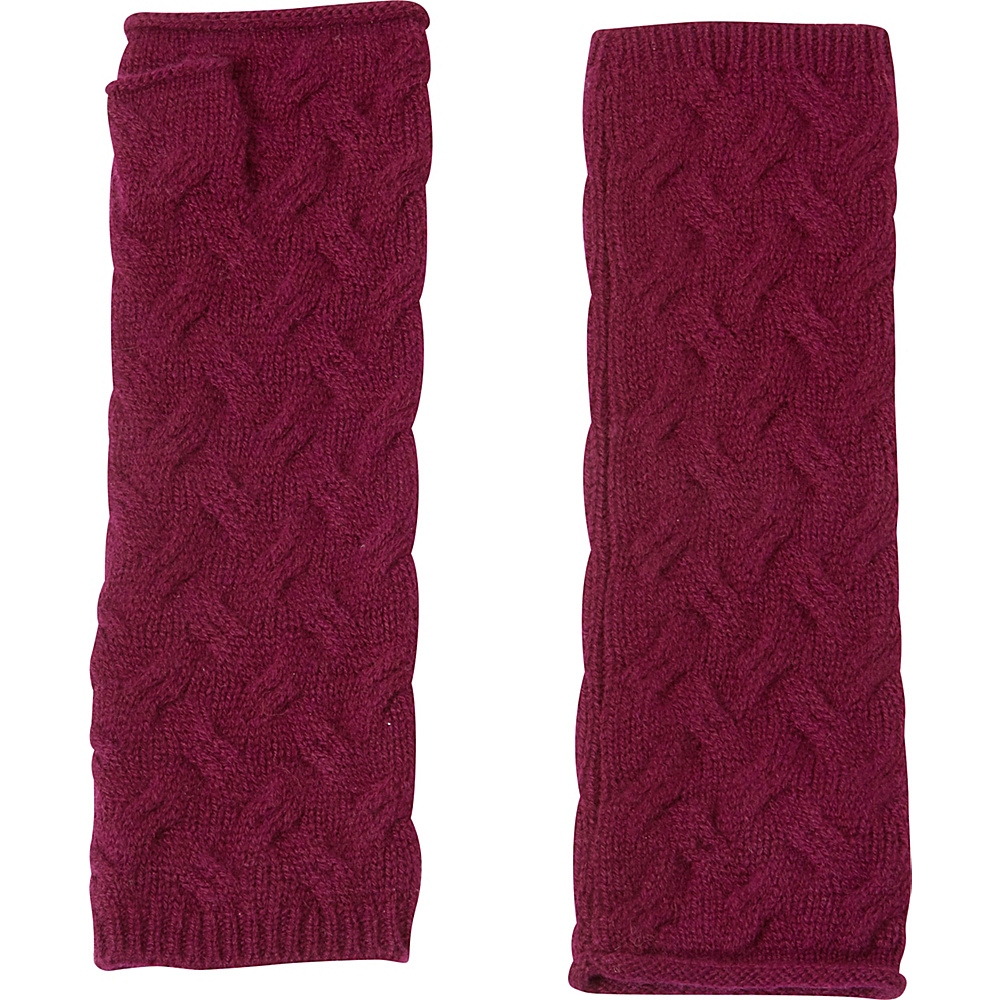 Kinross Cashmere Cable Texting Gloves One Size - Cassis - Kinross Cashmere Hats/Gloves/Scarves - Fashion Accessories, Hats/Gloves/Scarves