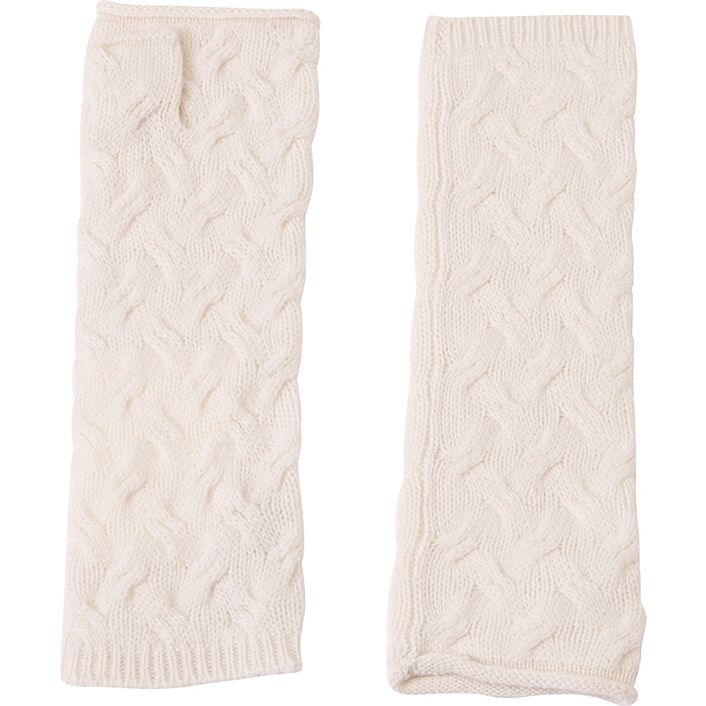 Kinross Cashmere Cable Texting Gloves One Size - Ivory - Kinross Cashmere Hats/Gloves/Scarves - Fashion Accessories, Hats/Gloves/Scarves