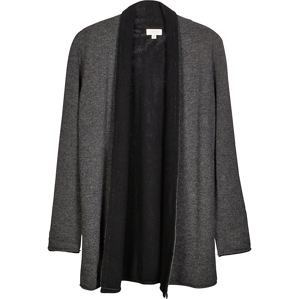 Kinross Cashmere Reversible Cardigan L - Charcoal/Black - Kinross Cashmere Womens Apparel - Apparel & Footwear, Women's Apparel