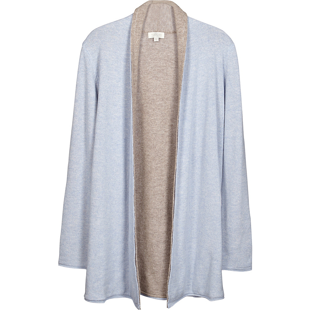 Kinross Cashmere Reversible Cardigan XS - Ceil/Antler - Kinross Cashmere Womens Apparel - Apparel & Footwear, Women's Apparel