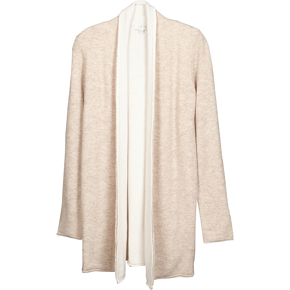 Kinross Cashmere Reversible Cardigan L - Fawn/Ivory - Kinross Cashmere Womens Apparel - Apparel & Footwear, Women's Apparel
