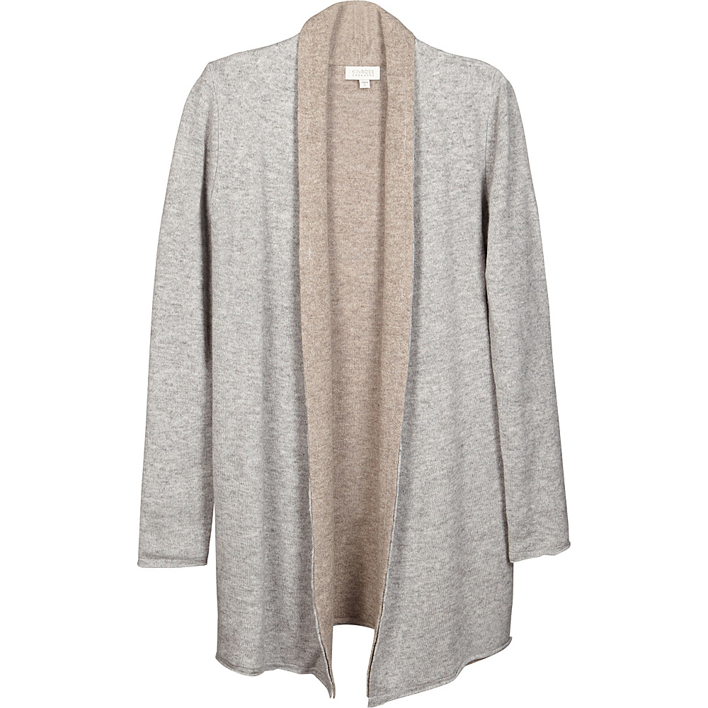 Kinross Cashmere Reversible Cardigan S - Sterling/Antler - Kinross Cashmere Womens Apparel - Apparel & Footwear, Women's Apparel