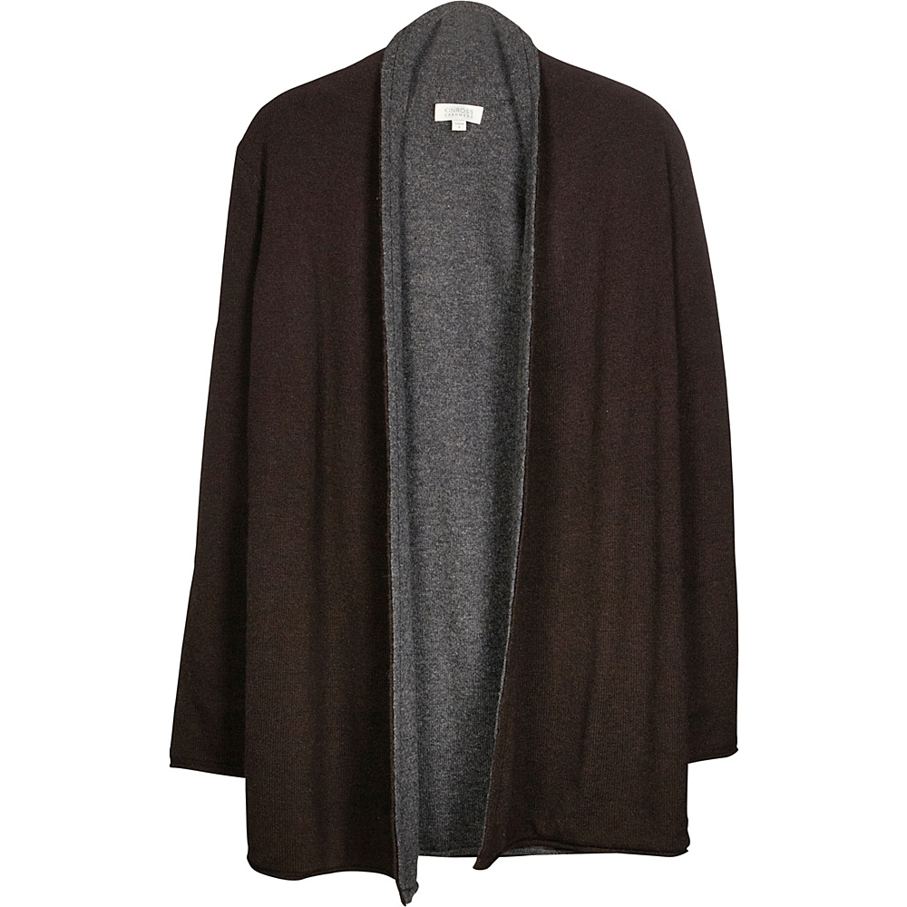Kinross Cashmere Reversible Cardigan XS - Teak/Charcoal - Kinross Cashmere Womens Apparel - Apparel & Footwear, Women's Apparel