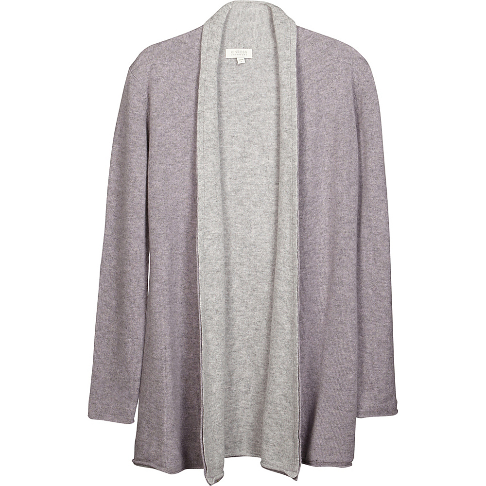 Kinross Cashmere Reversible Cardigan XS - Thistle/Sterling - Kinross Cashmere Womens Apparel - Apparel & Footwear, Women's Apparel