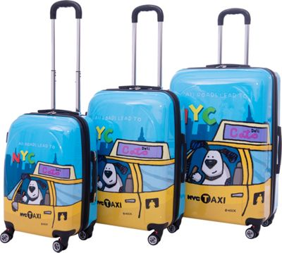 Ed Heck Luggage Riley 3 Piece Expandable Hardside Spinner Luggage Set Blue - Ed Heck Luggage Luggage Sets