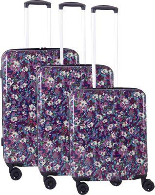 Isaac Mizrahi Harley 3 Piece Hardside Spinner Luggage Set Purple - Isaac Mizrahi Luggage Sets
