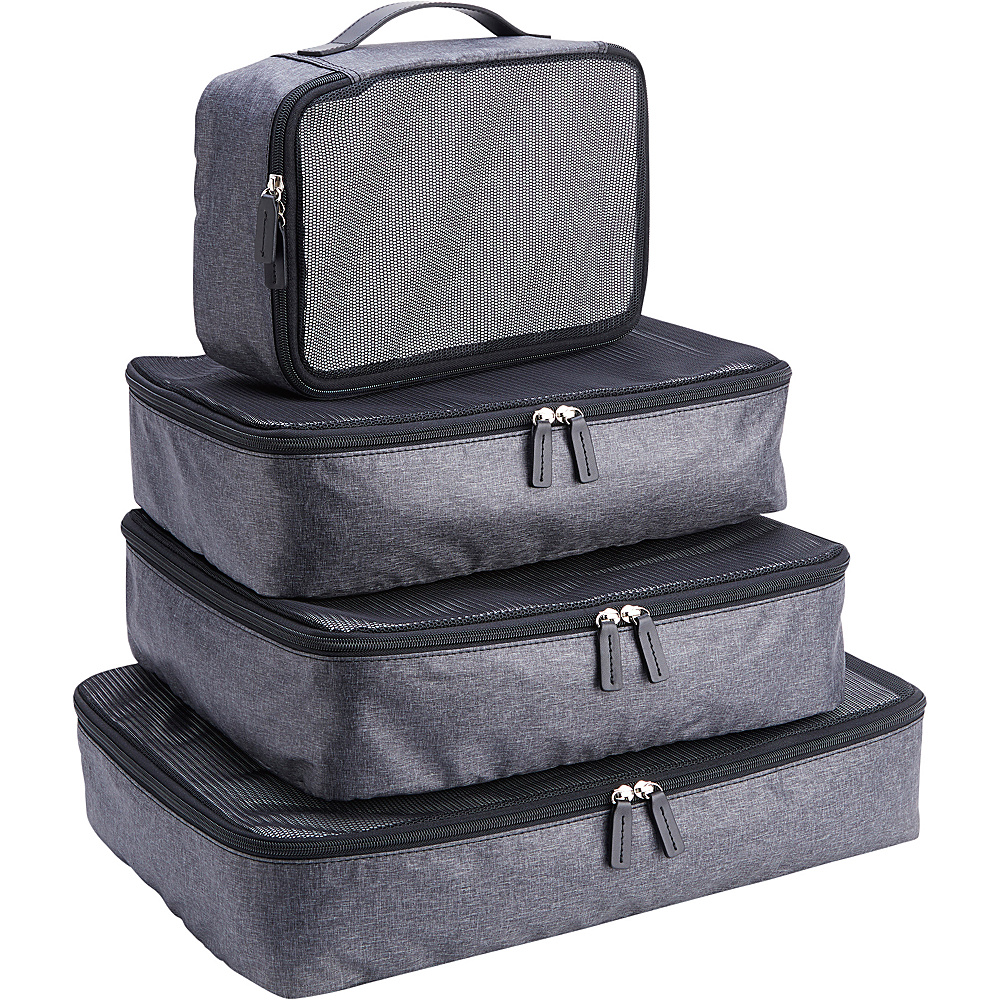 Royce Leather Set of 4 Luxury Travel Packing Cubes Black/Grey - Royce Leather Packable Bags - Travel Accessories, Packable Bags