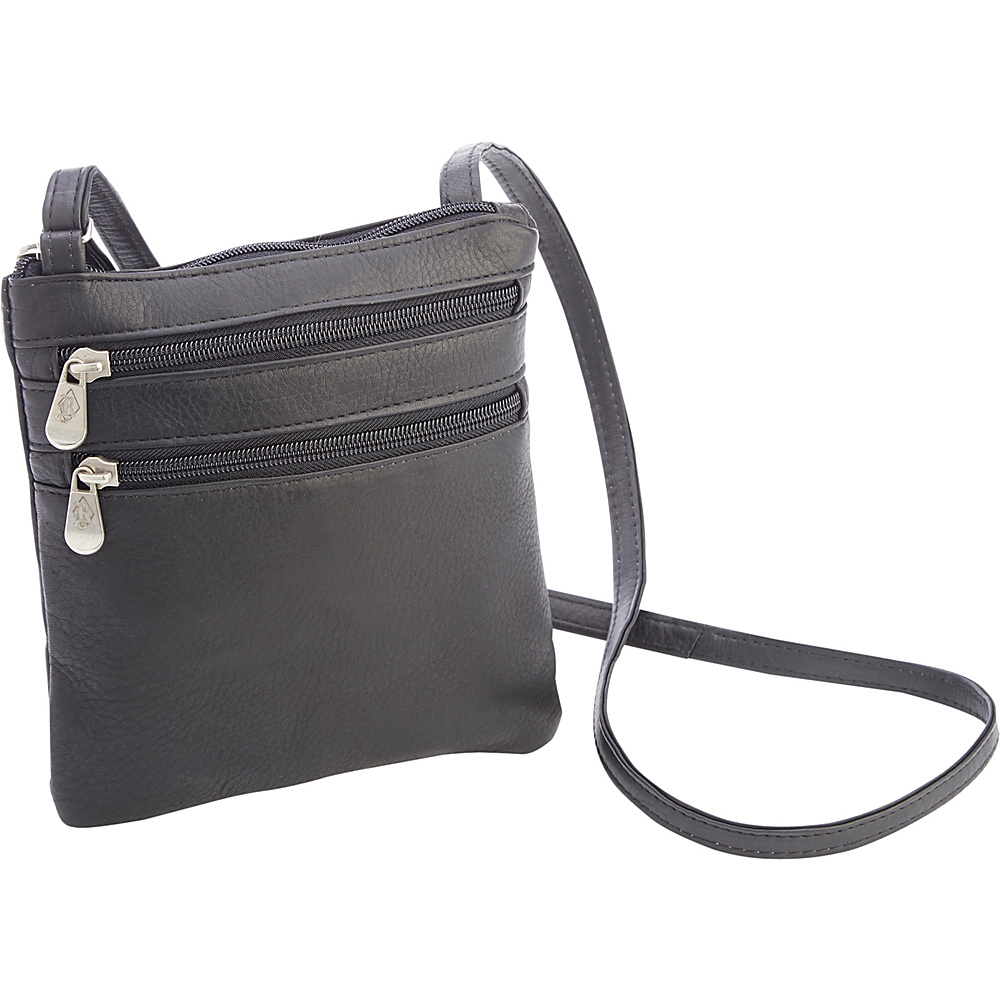 Royce Leather Colombian Leather Double Zip Crossbody Black - Royce Leather Other Mens Bags - Work Bags & Briefcases, Other Men's Bags