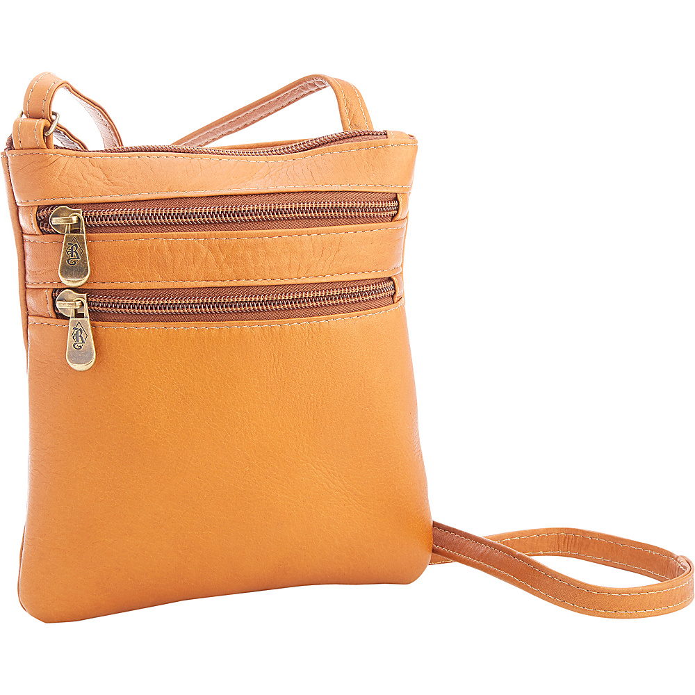 Royce Leather Colombian Leather Double Zip Crossbody Tan - Royce Leather Other Mens Bags - Work Bags & Briefcases, Other Men's Bags