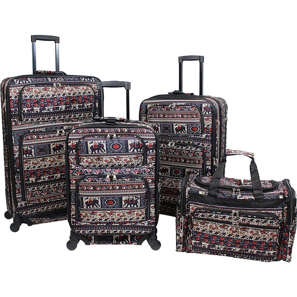 World Traveler Elephant Print 4 Piece Rolling Expandable Spinner Luggage Set Elephant - World Traveler Luggage Sets - Luggage, Luggage Sets