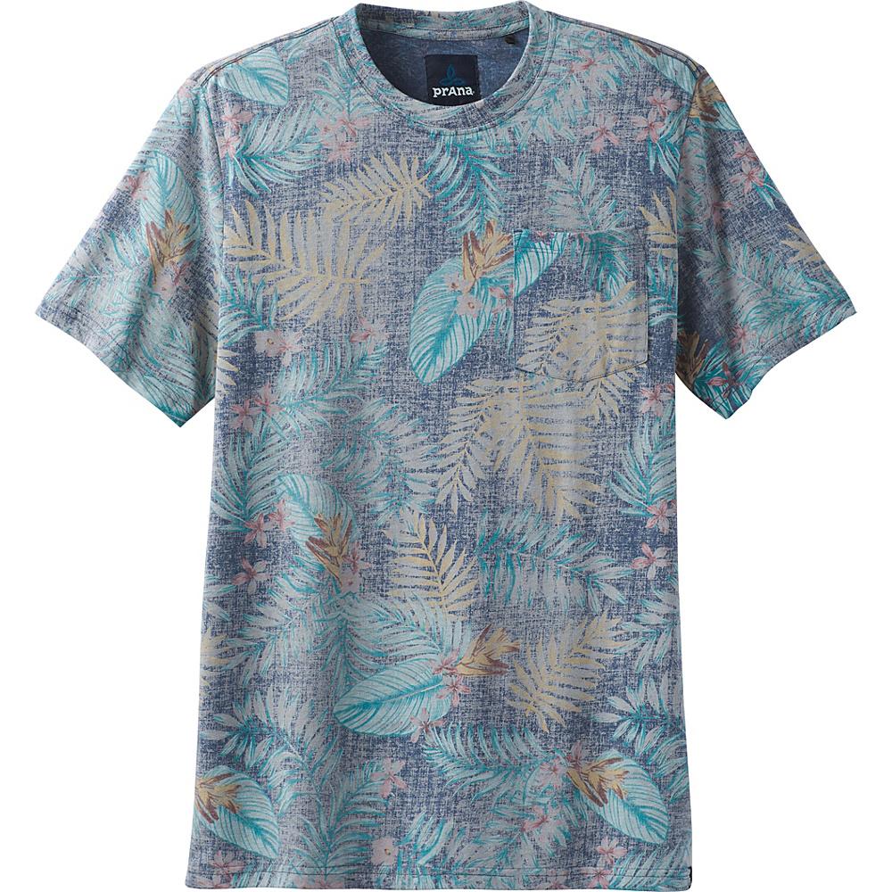 PrAna Ryann Printed Short Sleeve Crew Shirt XL - Equinox Blue Palm - PrAna Mens Apparel - Apparel & Footwear, Men's Apparel